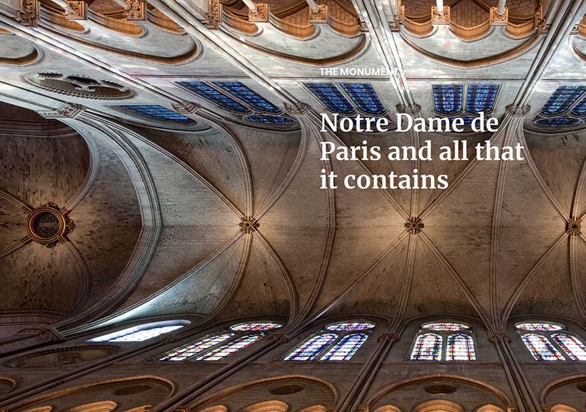 Taket i katedralen Notre-Dame har rasat in. Foto: Notredamedeparis.fr