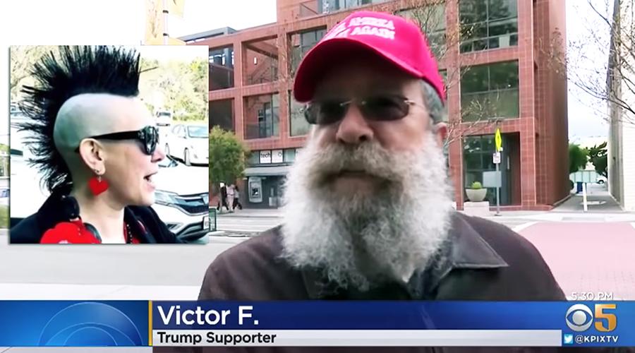 Trump-supporter med MAGA-keps. Foto: CBS i San Fransisco Bay Area