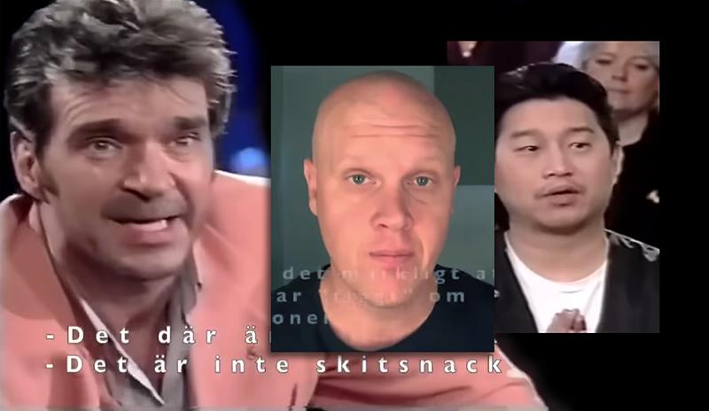 Kjell Bergqvist och Joakim Lamotte träter. Montage: NewsVoice. Beskurna bilder från TV3 och Lamottes YouTube-kanal.