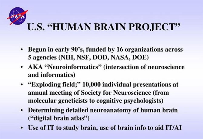 NASA: Future Strategic Issues 2001-2025. Slide: Human Brain Project. Source: NASA.gov