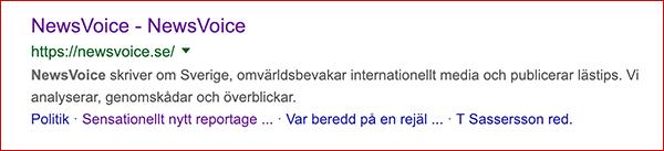 NewsVoice snippet på Google