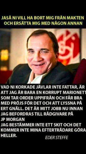 Nidbild på Stefan Löfven som cirkulerar i sociala medier.