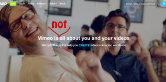 Reklamfilm från Vimeo, 2019. Skärmdump från Vimeo.com