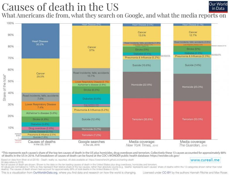 Causes of death in th USA, 2016. Summary: Covert Politics