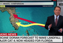 Orkanen Dorian. Foto: CNN, 30 augusti 2019