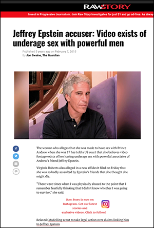 """Jeffrey Epstein accuser: Video exists of underage sex with powerful men"". Dump: Rawstory, 2015"