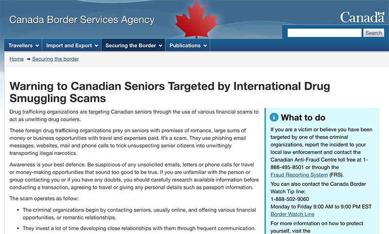 A warning from Canada Border Services Agency