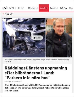 DN om bilbränder och smarta lösningar i Sverige, 6 okt 2019. Skärmdump från DN
