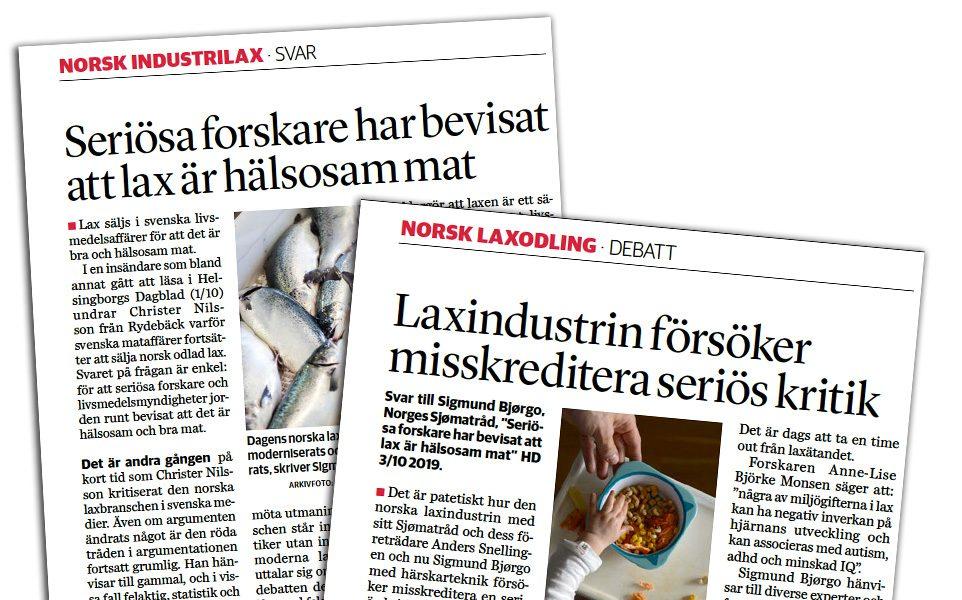 Debatten 2019 om norsk industrilax skedde i HD, DN, NewsVoice och TV Hälsa.