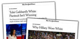 Hillary Clinton och Tulsi Gabbard. Foton: Ruth Fremson, The New York Times. Montage: NewsVoice. Skärmdumparna är pixelerade för att skydda upphovsrätten.