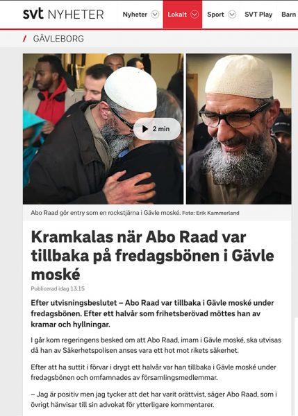 Det var kramkalas enligt SVT när imamen Abo Raad fick komma tillbaka till moskéen den 1:a nov 2019. Skärmdump från SVT.