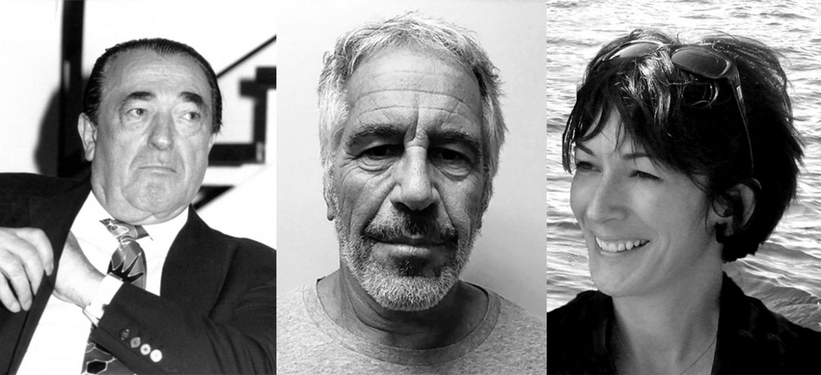 Robert Maxwell, Jeffrey Epstein, Ghislaine Maxwell. Foto: David Fowler (Licens: Mostphotos), New York State Sex Offender Registry, Wikimedia Commons