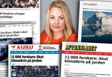 """Rebecca Weidmo Uvell kommenterar medierna om 11,000 p""""klimatforskare"""". Montage: NewsVoice.se"""