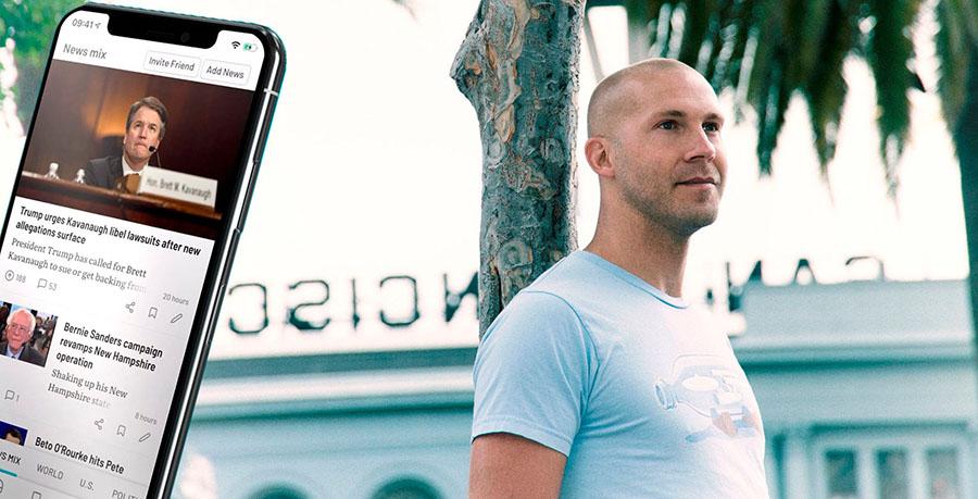 Viktor Lidholt på NewsVoice.com. Pressfoto: NewsVoice.com. Montage: Breakit.se