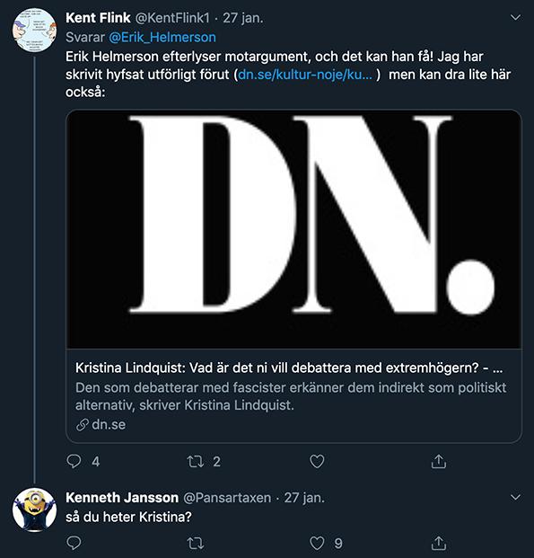 Kristina Lindquist på DN anklagas för att driva Twitter-kontot KentFlink1