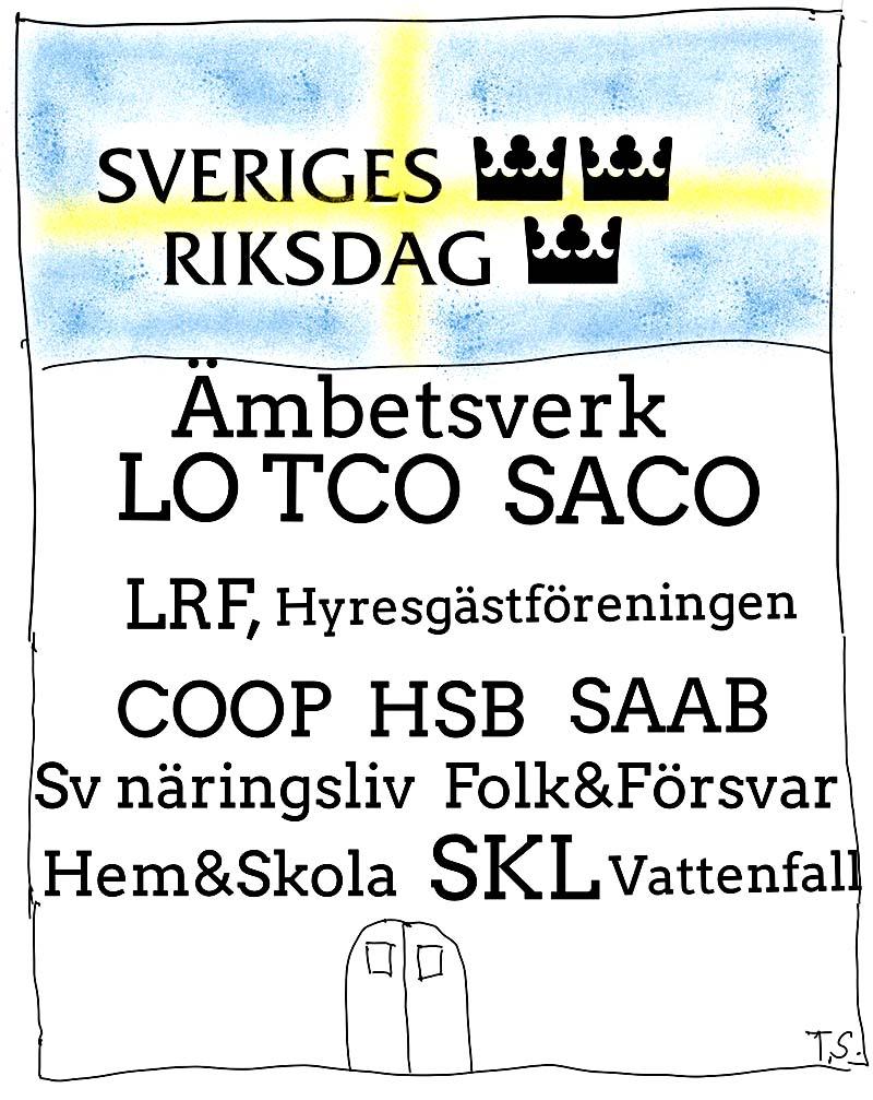 Riksdagen och verken i det korporativa Sverige . Illustration: Torsten-Sandstrom