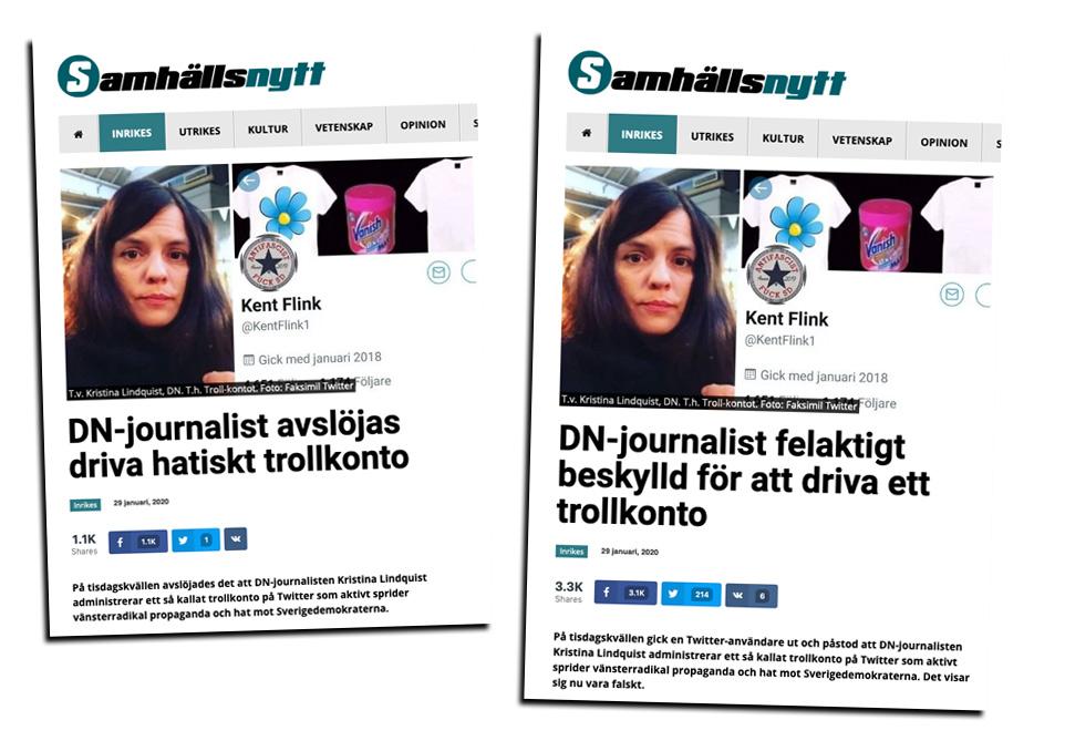 """Kristina Lindquist anklagas för att driva """"trollkontot"""" KentFlink1"""
