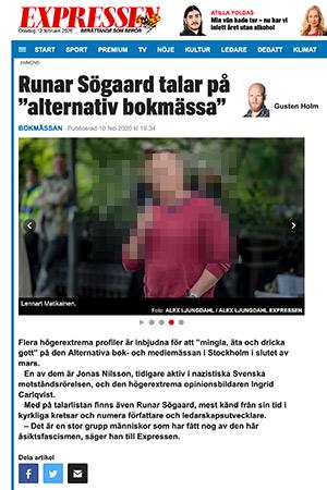 """Gusten Holm omnämner Lennart Matikainen i artikeln """"Runar Sögaard talar på alternativ bokmässa""""."""