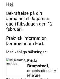 Frida Bramstedt KD bekräftar deltagande på Jägarnas dag i Riksdagen 12 feb 2020
