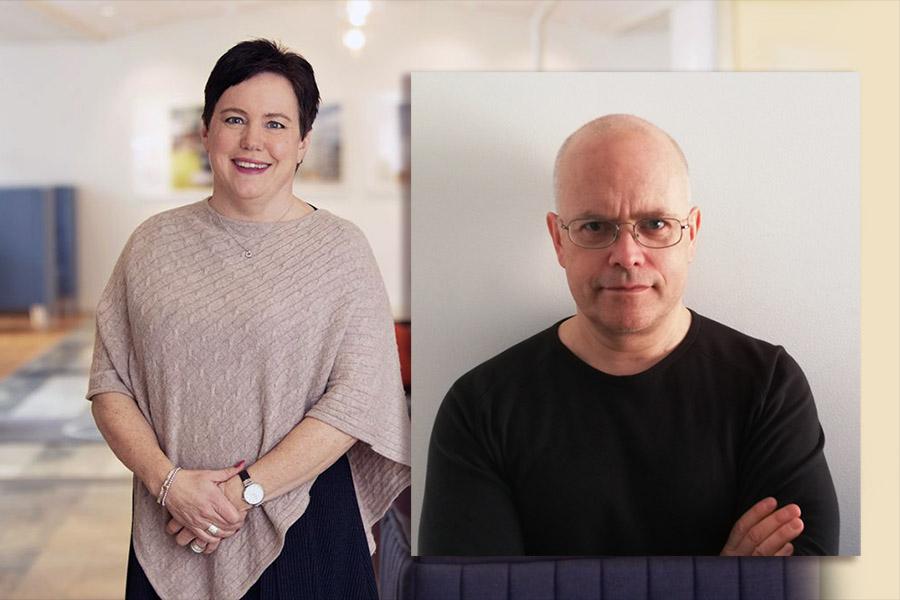 Eva Nordström, VD på SKB (pressfoto) och Torbjörn Sassersson. Montage: NewsVoice.se