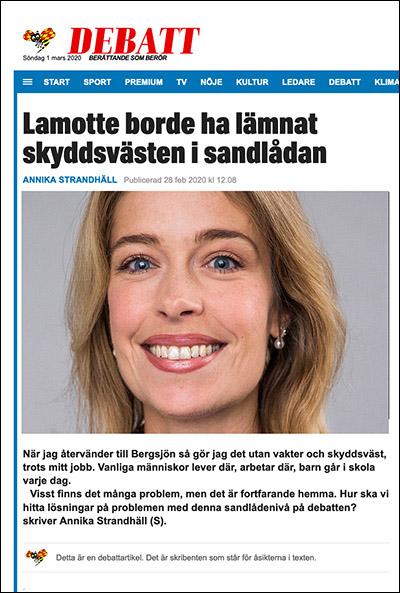 Annika Strandhäll debatterar i Expressen 28 feb 2020.