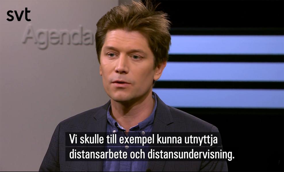 Joacim Rocklöv professor i epidemiologi och folkhälsovetenskap, 15 mars 2020. Foto: SVT Agenda