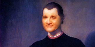 Stefan Löfven som Machiavelli. Montage: NewsVoice, baserat på ett porträtt av Santi di Tito (Public Domain, Wikimedia)