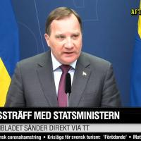 Stefan Löfven om coronaviruskrisen 13 mars 2020. Foto: AftonbladetTV