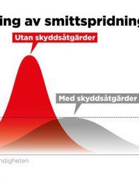 Svenska coronastrategin: Smittspridningen med och utan åtgärder.