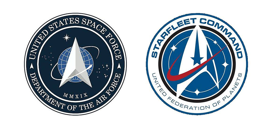 Spaceforce och Starfleet logos