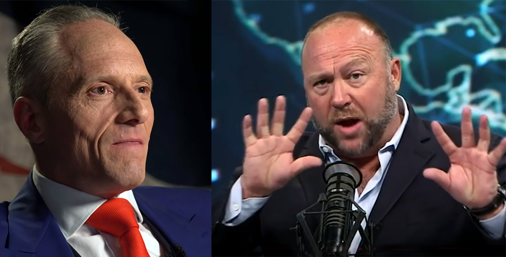 Brian Rose (foto: London Real) och Alex Jones (foto: InfoWars.com, april 2020.