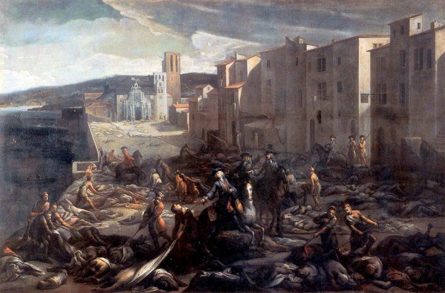 Marseille under digerdöden. Målning från år 1720. Källa: Max Planck Society. Licens: Public Domain