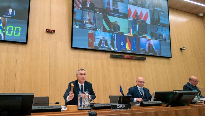 North Atlantic Council, telekonferens. NATO:s generalsekreterare Jens Stoltenberg. Foto: NATO.int
