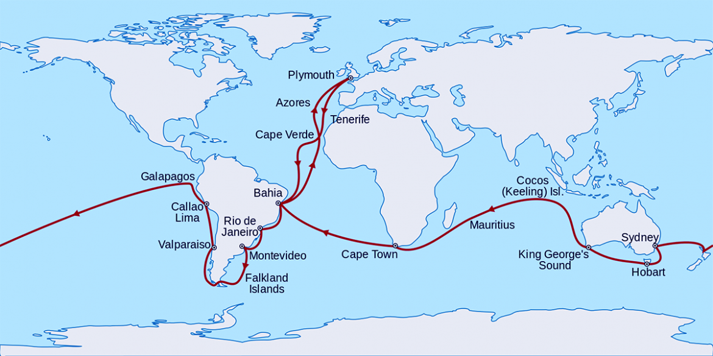 Darwins femåriga jorden-runt-resa. Bild: Wikimedia Commons. Licens: CC.BY-SA-3.0