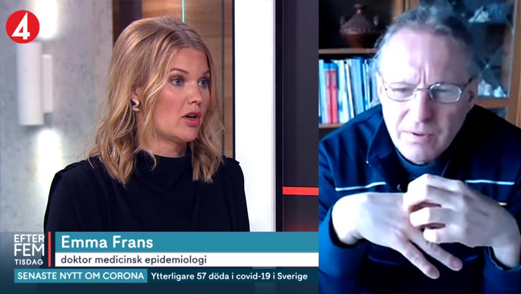 Emma Frans, 12 maj 2020 (foto: TV4) och Michael Zazzio (eget verk). Montage: NewsVoice.se