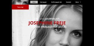 Josephine Freje Simonsson - Skärmdump av Frilanshemsida