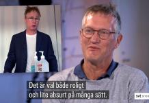 Robert Gustafsson (som Tore Etsen ) Anders Tegnell. Foton: Robert Gustafsson - Official på YouTube och SVT Nyheter. Montage: NewsVoice.