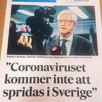 Chefen på Folkhälsomyndigheten Johan Carlsson och hans coronaprognos den 7 februari 2020. Källa: SvD
