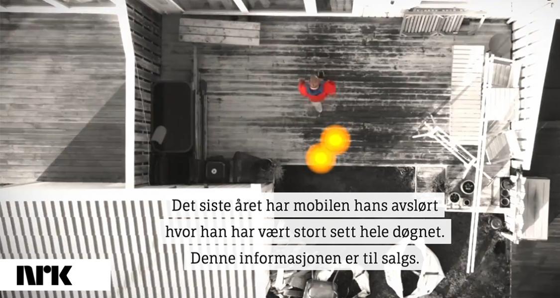Övervakningsdata till försäljning med hjälp av smartphone. Grafik: NRK.no
