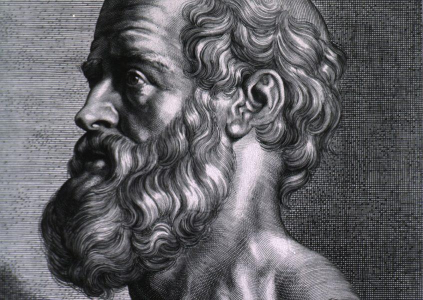 Hippocrates (född på Kos c:a 460 f.Kr., död 370 f.Kr.). Gravyr: Peter Paul Rubens. Licens: Public Domain