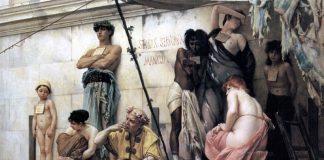 Slavmarknad (Le Marché aux esclaves). Målning av Gustave Boulanger (1824–1888). Foto: Zeeb. Licens: public domain (USA)