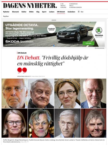 DN: eutanasi-debatt i juli 2020. Skärmdump från DN.se