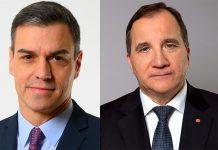 Pedro Sánchez, 2020 (pressfoto: Spaniens regering) och Stefan Löfven, 2019 (pressfoto: Kristian Pohl, Regeringskansliet).