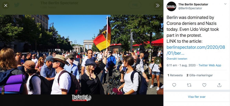 Berlin, coronademonstration 1 maj 2020. Dump från The Berlin Spectator, Twitter-kanal