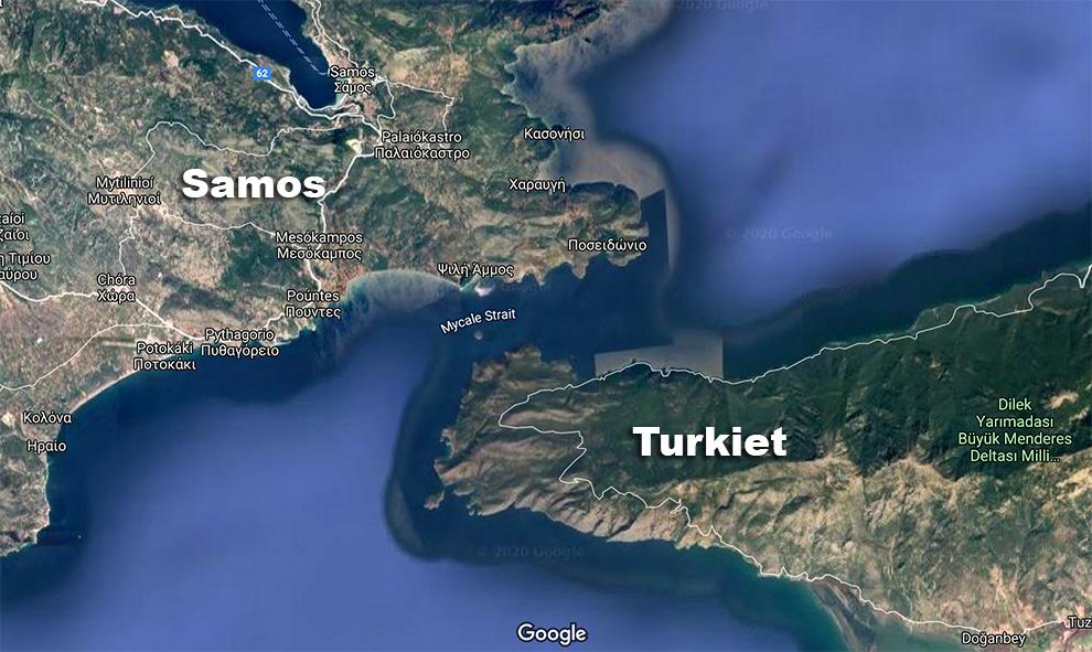 Mycale-sundet mellan Samos och Turkiet. Bild: Google Maps