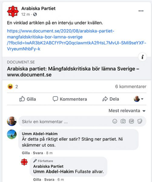 Arabiska partiet om intervjun i Document. Skärmdump från Facebook-sida.