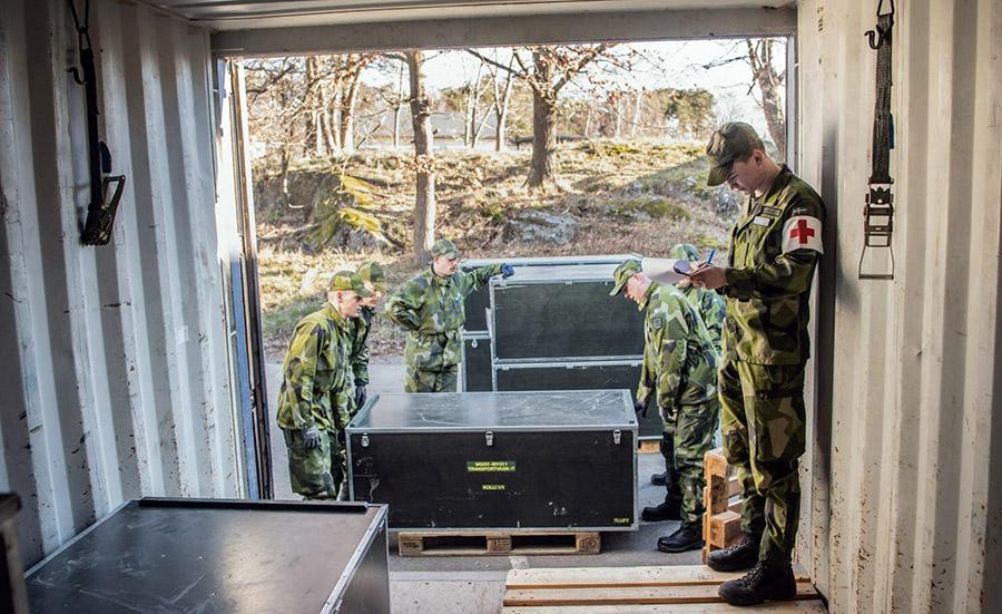Försvarsmakten bidrar med fältsjukhus till Stockholm och Göteborg. Pressfoto: Bezav Mahmod på Försvarsmakten
