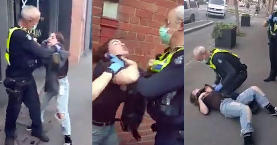 Polisövervåld i Victoria, Australien, 11 aug 2020. Privat video tillhandahållen av The Guardian.