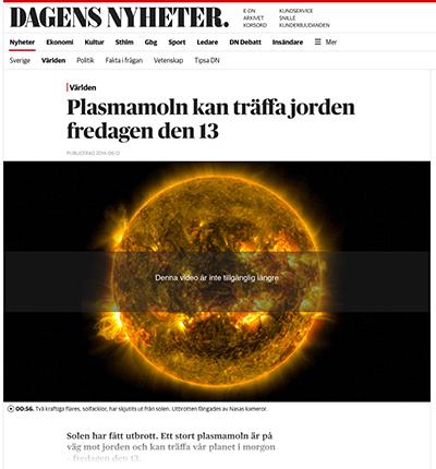 DN: Plasmamoln kan träffa jorden fredagen den 13