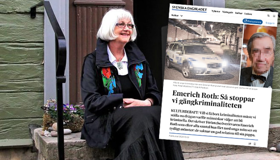 Harriet Larsson replikerar Emerich Roth Roth, SVD. Montage: NewsVoice